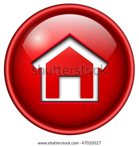 home icon, button, 3d red glossy circle. - stock vector
