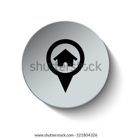 Home icon. Home location. Rounded button. Vector Illustration. EPS10 - stock vector