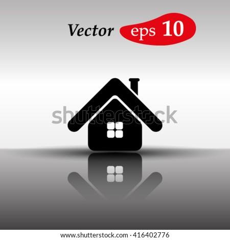 Home icon.Mirror reflection. - stock vector