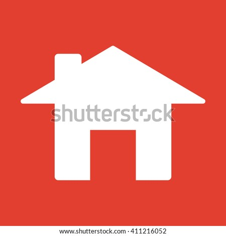 Home icon on red background.