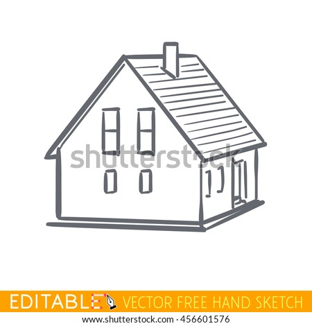 Home icon. Small building. Editable vector graphic in linear style. - stock vector