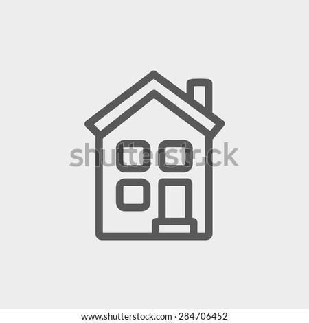 Home icon thin line for web and mobile, modern minimalistic flat design. Vector dark grey icon on light grey background. - stock vector