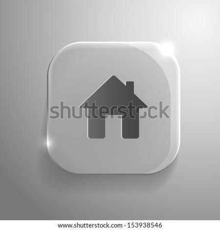 Home icon - vector gray glass app button with shadow. eps10 - stock vector