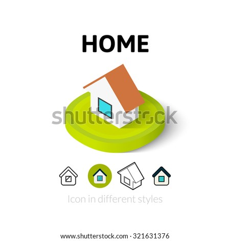 Home icon, vector symbol in flat, outline and isometric style - stock vector