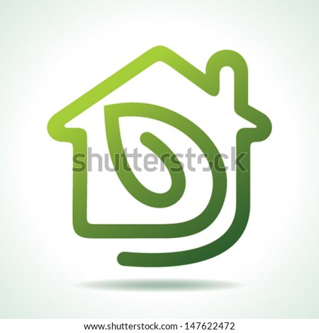 home icon with leaf-vector illustration - stock vector