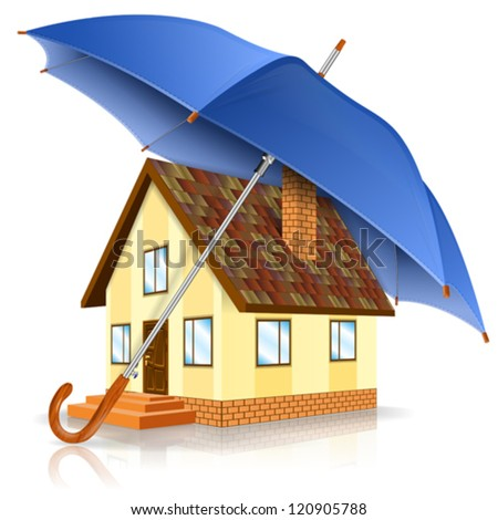 Home Icon with Umbrella - Safe House Concept, isolated on white background, vector illustration