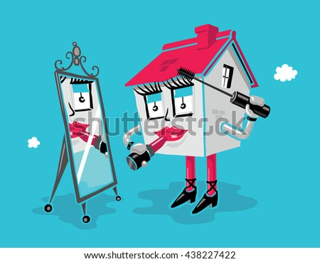 Home Improvement Concept: Cartoon House Applying Makeup (Lipstick and Mascara) While Looking in a Mirror. Blue Background. - stock vector
