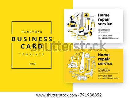 Home improvement corporate business card repair em vetor stock home improvement corporate business card with repair tools house construction id template renovation background reheart Image collections