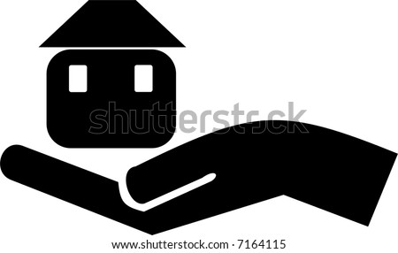 Home in strong hands - stock vector