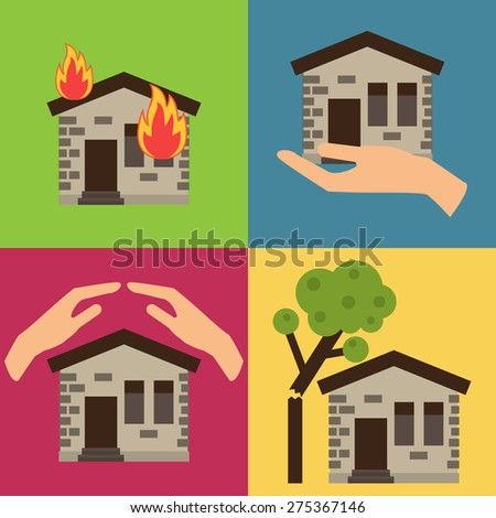 Home insurance business set vector illustration with house icons and hands. Layout template for infographics. - stock vector