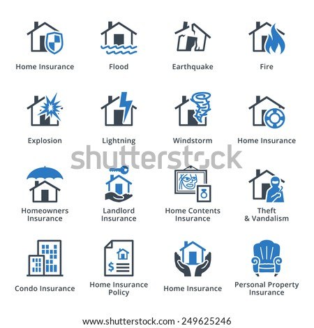 Home Insurance Icons - Blue Series - stock vector