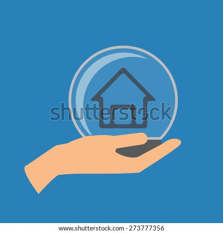 Home insurance vector illustration. Hand holding glass ball with house - stock vector
