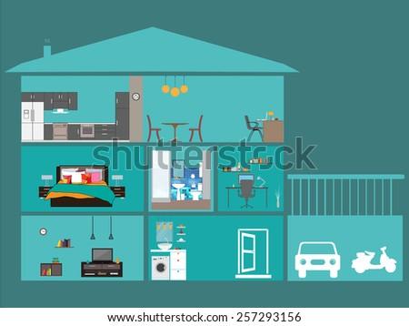 Home interior - stock vector