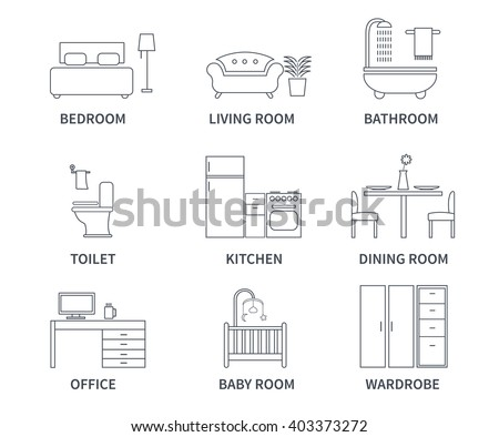 living room bedroom bathroom kitchen home interior design icons bedroom living stock vector 18975