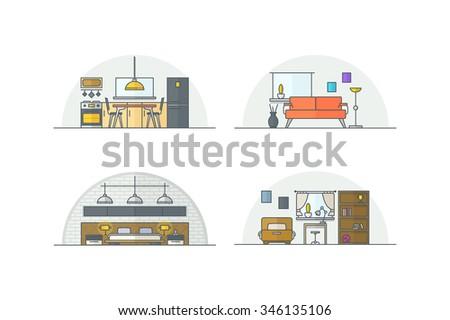 Home interior design. Line illustration. Stock vector. - stock vector