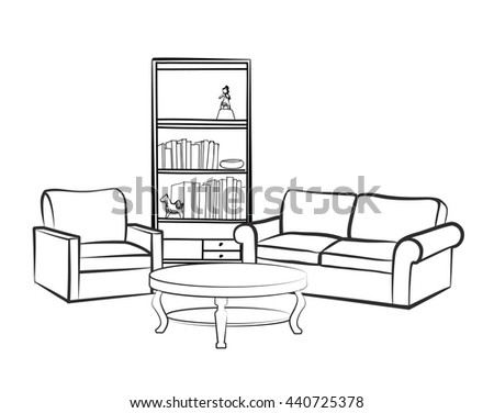 drawing living room home interior furniture sofa armchair table vectores en 11638