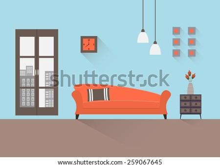 Home Interior Interior Design Living Room Stock Vector 259067645 ...