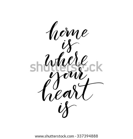 home where your heart card hand stock vector royalty free 337394888 shutterstock. Black Bedroom Furniture Sets. Home Design Ideas