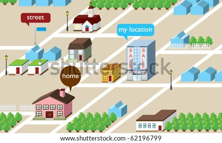 Home Isometric Map - stock vector