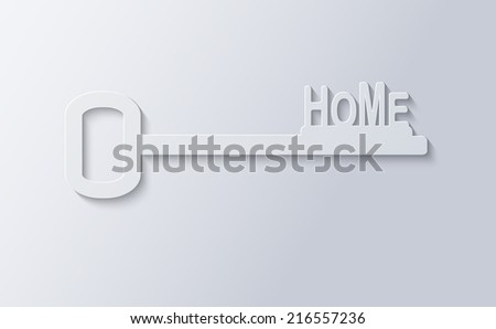 Home key. Paper art style - stock vector
