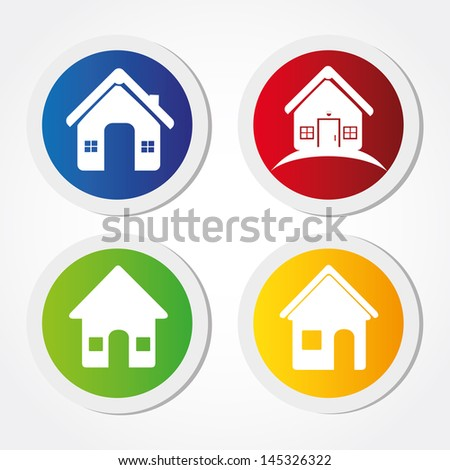 home labels over white background vector illustration - stock vector