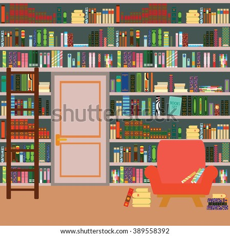Home library. Books and Knowledge. Vector flat illustration. - stock vector