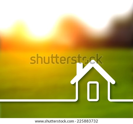 Home line vector background on blur photo background - stock vector