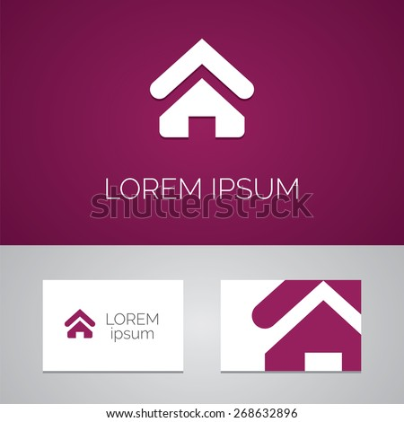 Home logo template icon design elements with business card   - stock vector