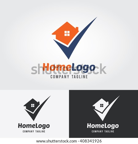 Home Logo Template with check mark. Logo for real estate agency. Real estate logo. House design. City, town, Real estate property check mark. Property Location, property finder. Home logo concept. - stock vector