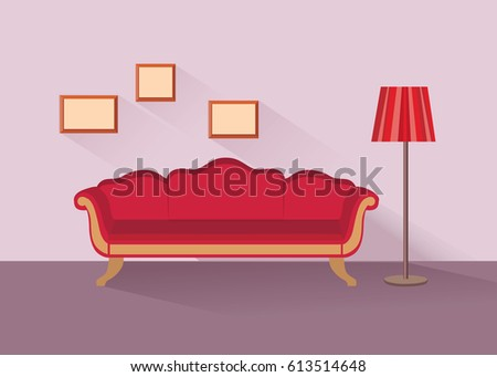 Home Lounge Interior Living Room Furniture Stock Vector 613514648 ...