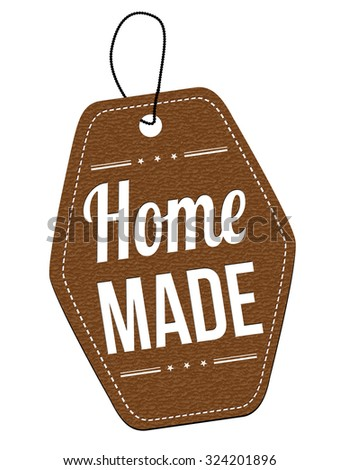 Home made leather label or price tag on white background, vector illustration - stock vector