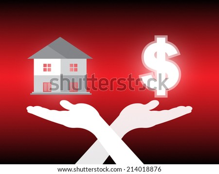 Home model and dollar in hand on dark background. - stock vector