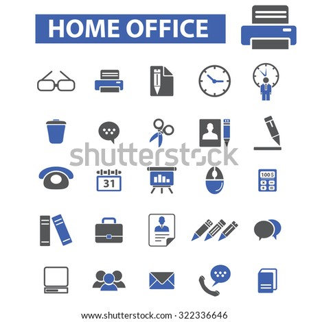 home office icons - stock vector