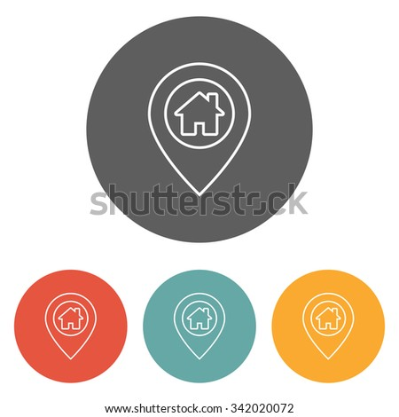 home on pin icon - stock vector