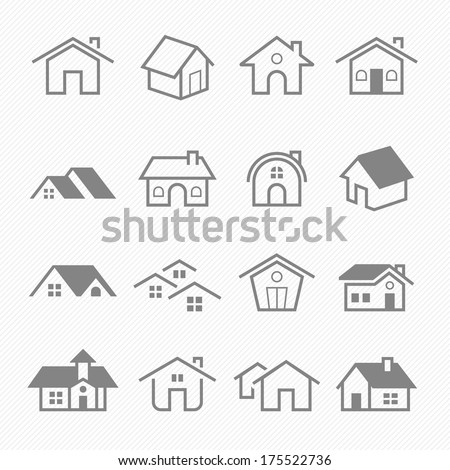 Home outline stroke symbol vector icons  - stock vector