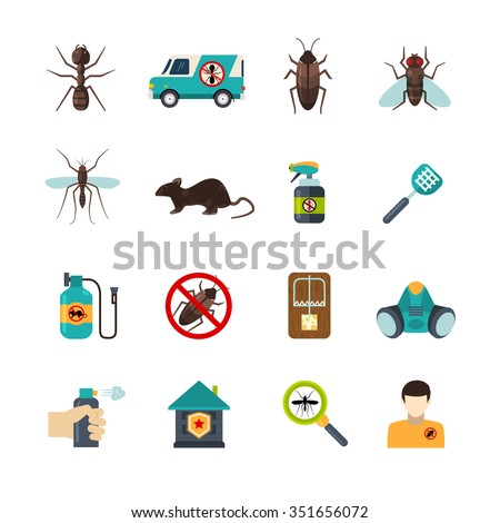 Home pest control expert exterminator service flat icons set with rat and cockroach abstract isolated vector illustration - stock vector