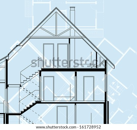 home plan blueprint background. vector illustration - stock vector