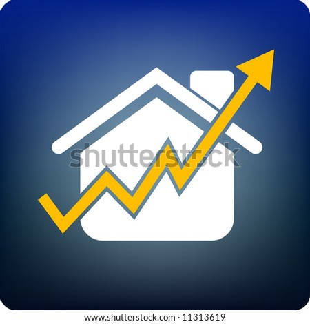 home price rise - stock vector