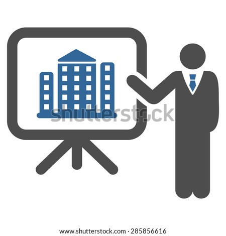 Home project icon from Business Bicolor Set. Vector style: flat bicolor symbols, cobalt and gray colors, rounded angles, white background. - stock vector
