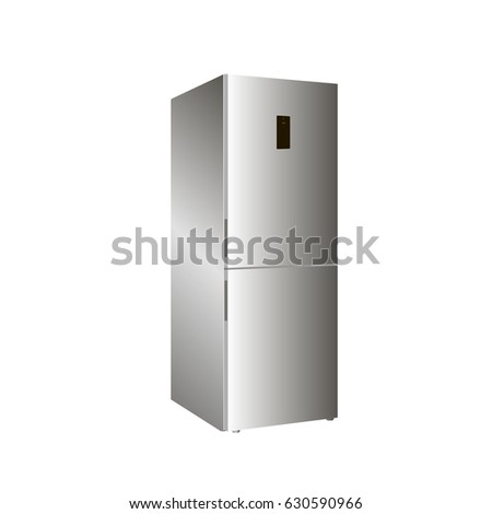 Home refrigerator on a white background. 3d realistic vector icon