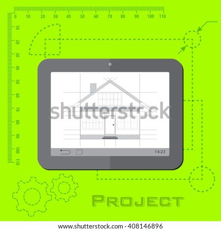 home remodeling project on tablet on green background