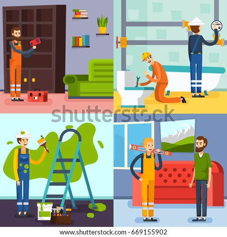 home renovation concept 4 flat icons square with plumbers in bathroom and workman painting wall isolated