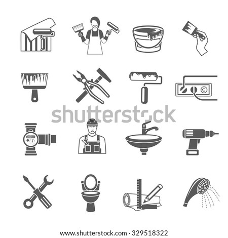 Home repair black icons set with housework and renovation tools isolated vector illustration - stock vector