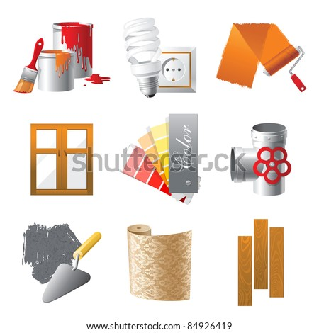 Home repair icons set - stock vector