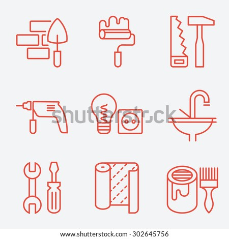 Home repair icons, thin line style, flat design - stock vector