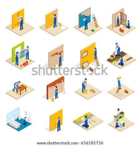 Home repair isometric set with workers doing maintenance isolated vector illustration