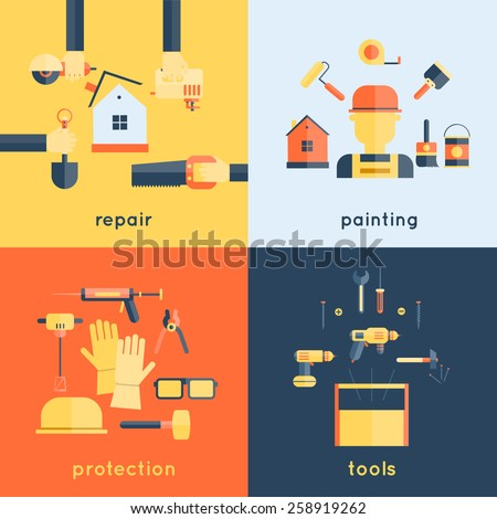 Home repair painting brush construction tools measuring tape flat icons composition design vector illustration - stock vector