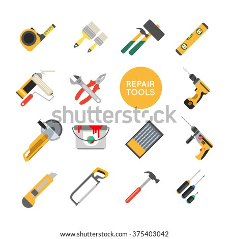 Home repair tools vector icons. Working repair tools for repair and construction. Hand drill, saw, level, hammer, screwdriver and other construction tools. Home repair set isolated on white background - stock vector