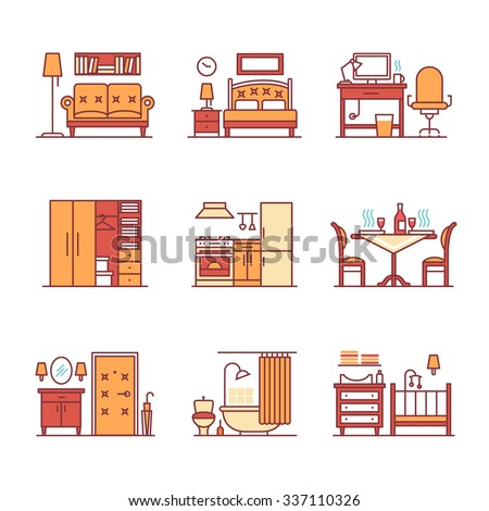 Home room types furniture signs set. Thin line art icons. Flat style illustrations isolated on white. - stock vector