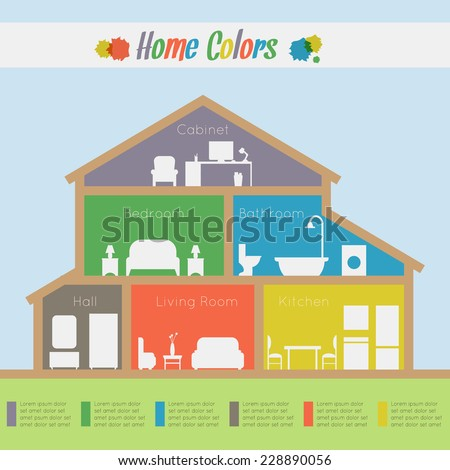 Home rooms colors. House infographic. - stock vector